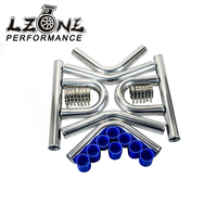 LZONE 2.5' '63mm TURBO INTERCOOLER PIPE 2.5 L=600MM CHROME ALUMINUM PIPING PIPE TUBE+T CLAMPS+ SILICONE HOSES BLUE JR1718