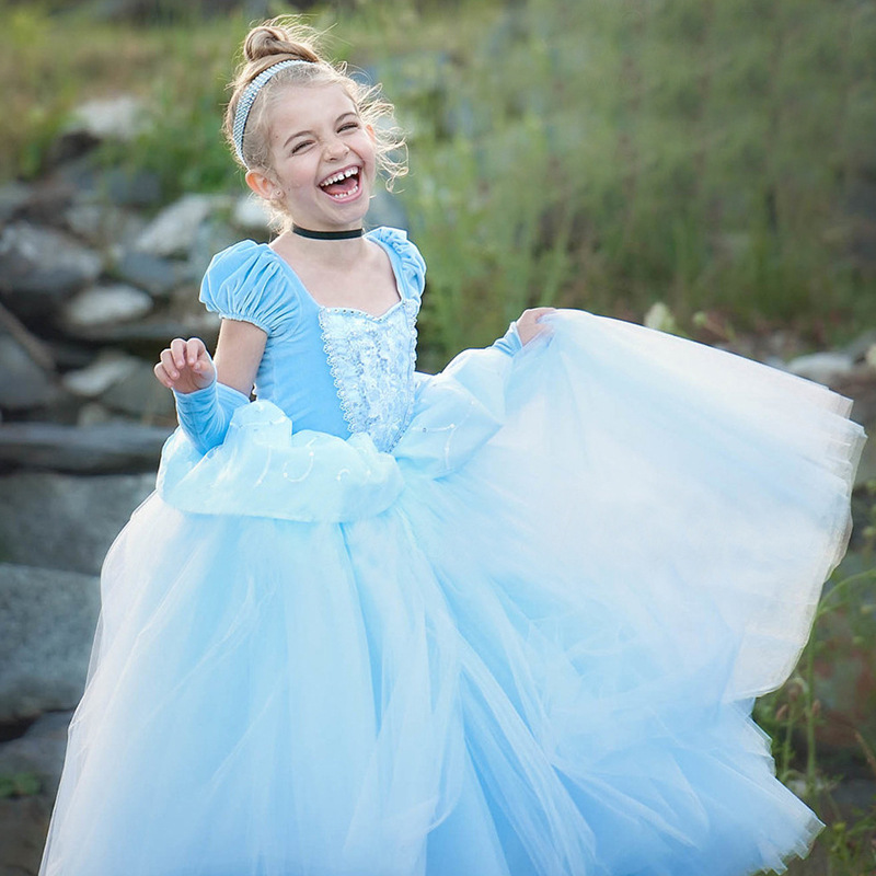 2018 Kids Girls dresses for party wedding blue long ball gowns children role-play costume princess cinderella girl dress up 3-8Y 2 8y girl kids lovely denim blue
