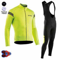 2018 Pro Winter thermal Fleece NW Team Cycling Jersey Long Sleeve Jerseys Cycling Bib Pants Set Cycling Clothes 9d Gel Pad kits