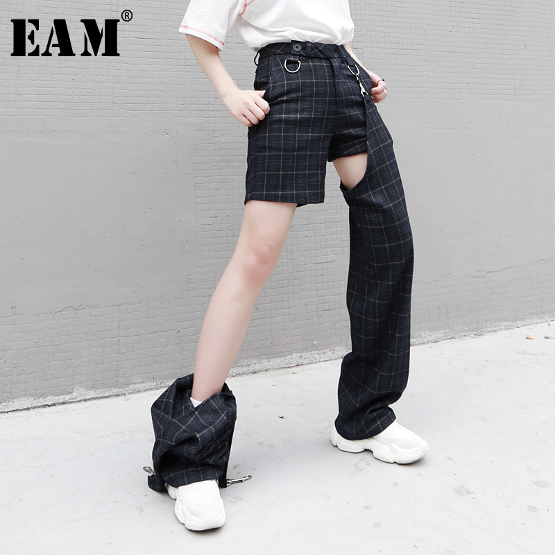EAM 2019 New Spring Summer High Elastic Waist Two Piece Split Joint Personality Blue Plaid