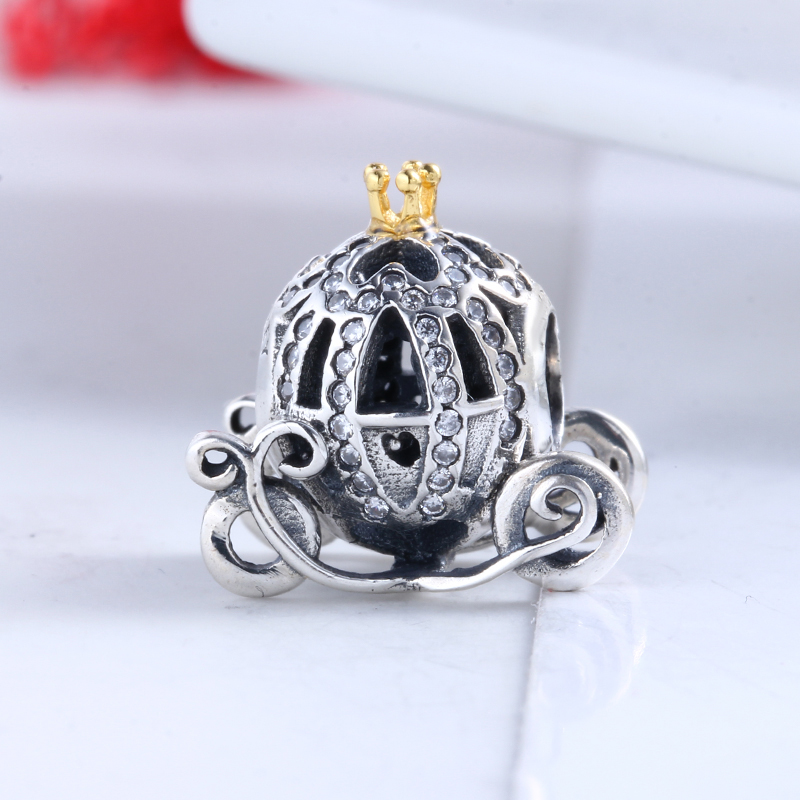 Authentic 100% 925 Sterling Silver Fit Original Pandora Bracelet Cinderella pumpkin coach CZ Charm Beads for Jewelry Making