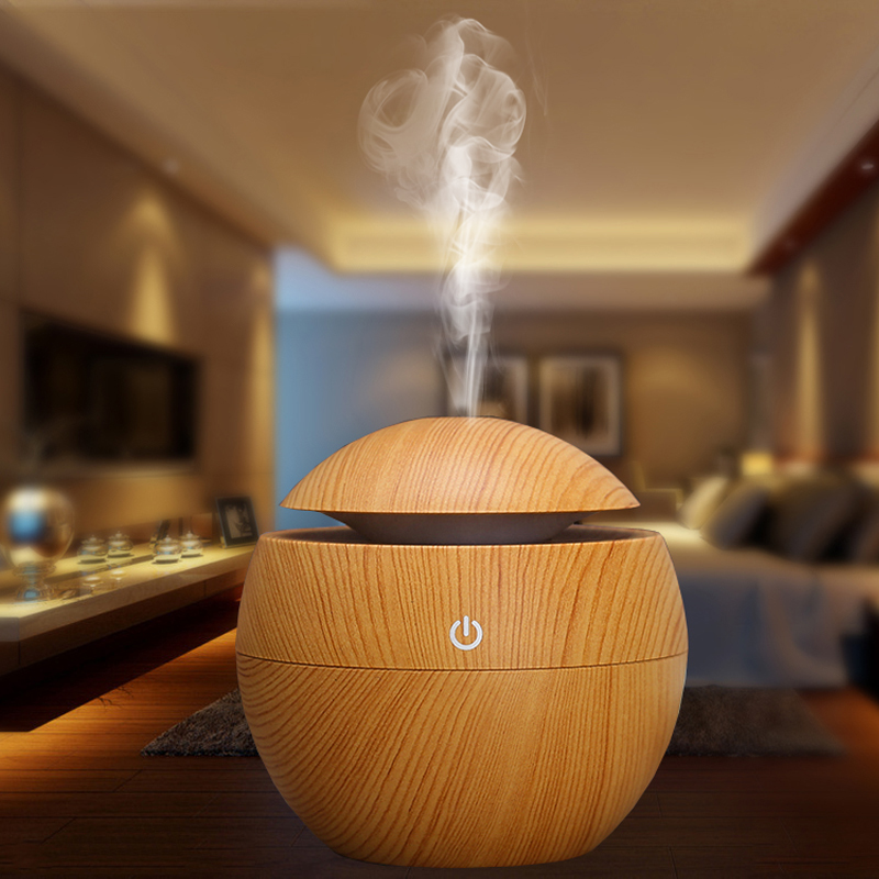 Wood Grain Air Humidifier USB Electric Aroma Essential Oil Diffuser With 6 Colours LED Ultrasonic Mist Maker