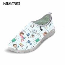 Мгновенные милые туфли для медсестры, женские туфли на плоской подошве, сетчатый светильник с мультяшным рисунком, женские пляжные Лоферы для ухода