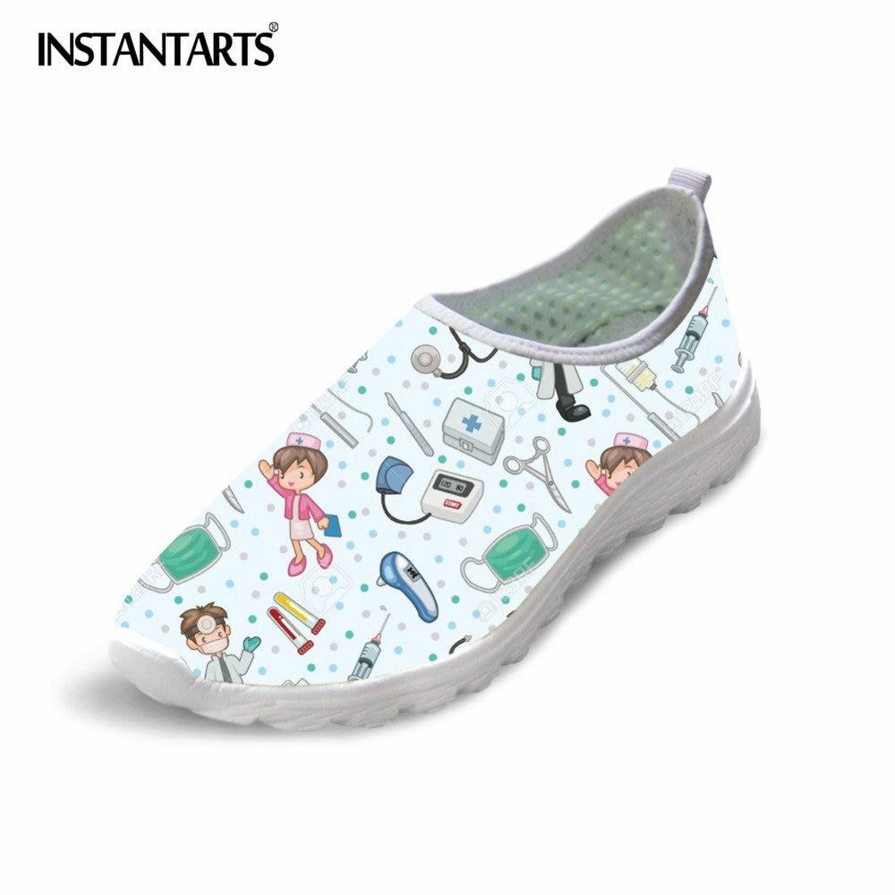 INSTANTARTS Cute Nurse Pattern Women Spring Summer Flats Shoes 3D Cartoon Nursing Light Weight Mesh Shoes Woman Beach Loafers