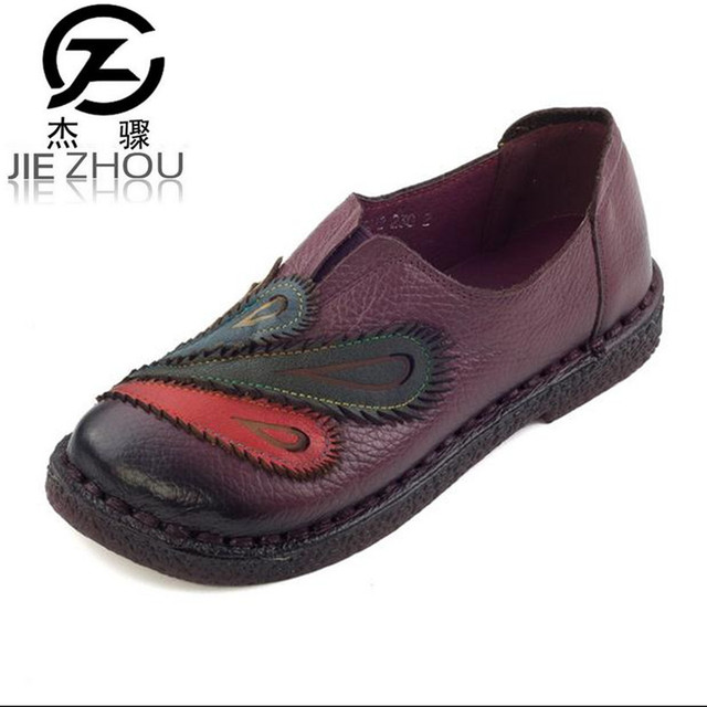 72d40583c2258 2017 Autumn stitching soft bottom retro handmade shoes Women Shoes Genuine  leather Flats Large size casual mom shoes obuv -in Women's Flats from Shoes  ...