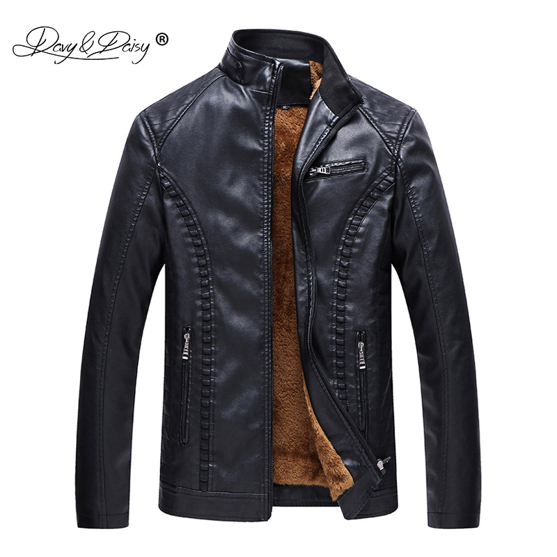 DAVYDAISY 2018 New Arrival Autumn Winter PU Leather Men Jacket Warm Coat Men Outerwear Solid Clothing Plus size 6XL JK067