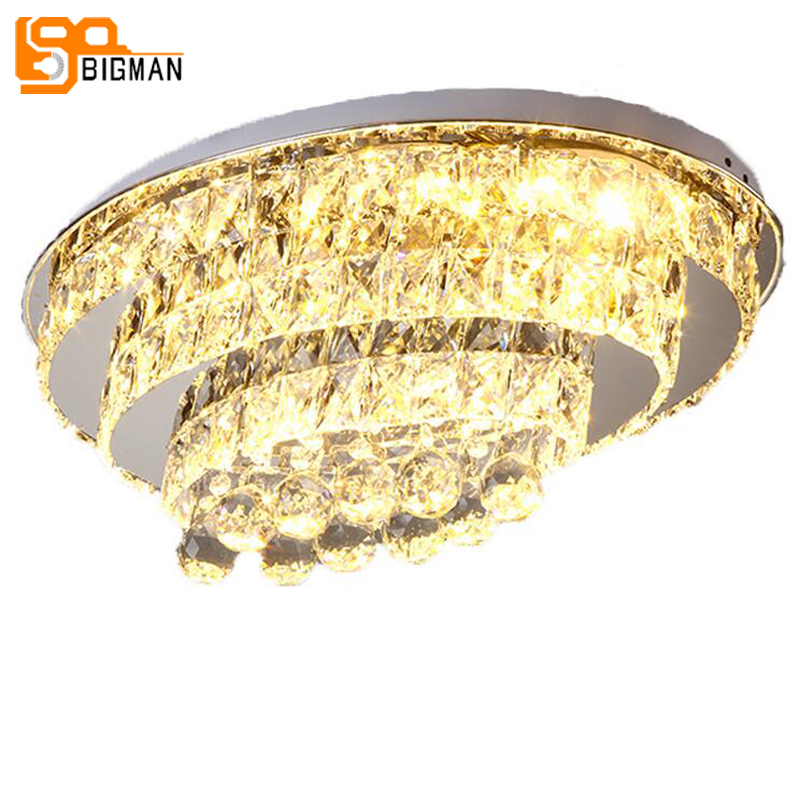 oval design LED crystal chandeliers modern crystal lamp flush mount living room bedroom  ...