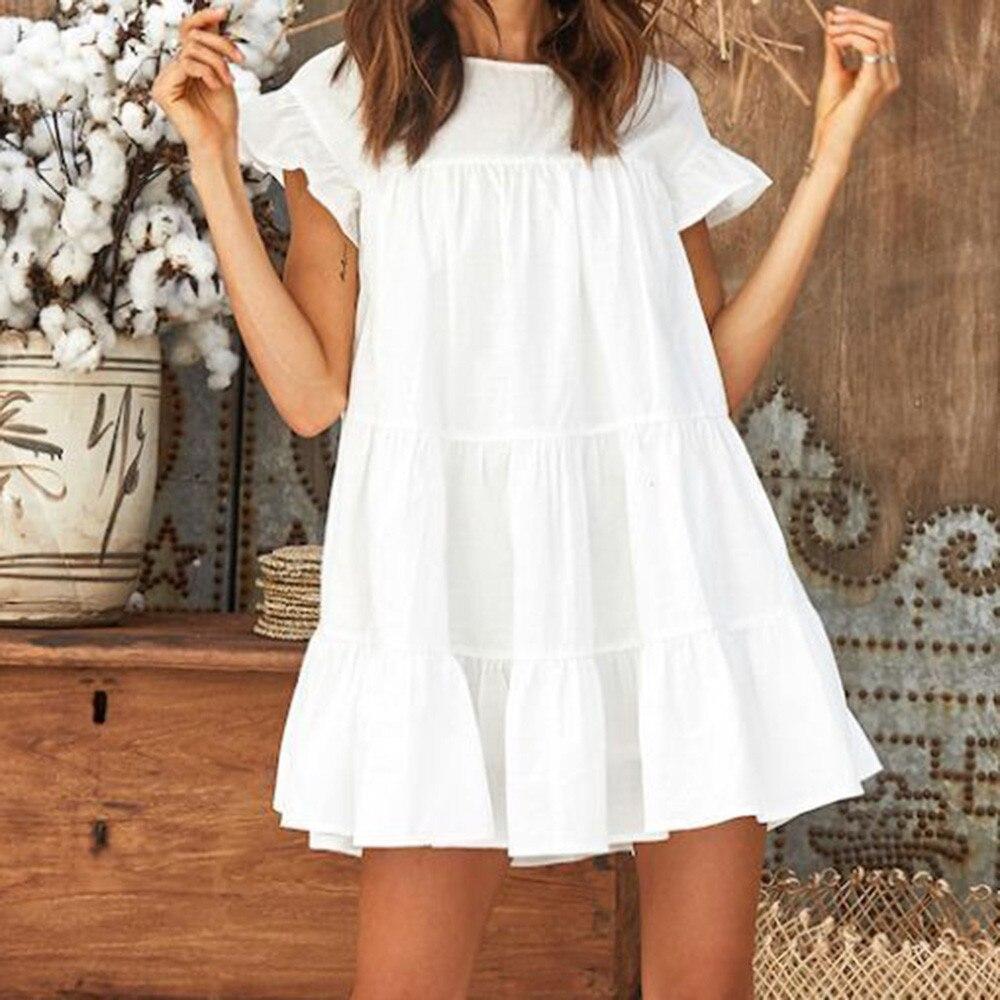 0c25d4a23a95 Mori girl Boho 2018 White Red Cascading Ruffle Dress A-Line Summer Women  Lovely Party Beach