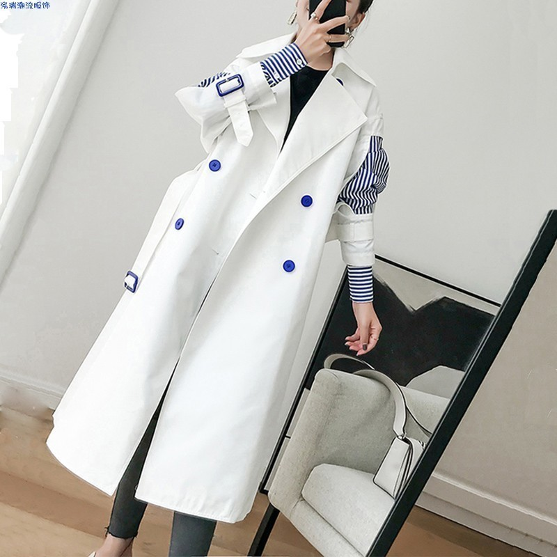 LANMREM 2020 New Fashion Womne Clothes Korean Girl's Windbreaker Korean Two Paper Sleeve Joint Stripe Chic Loose Coat WC00200L