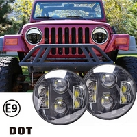 Pair 7 Round 12V 24V 80w Led Headlight For Jeep Wrangler JK TJ LJ CJ Harley