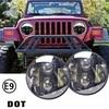 Pair 7 Round 12V 24V 80w Led Headlight For Jeep Wrangler JK TJ LJ CJ Harley