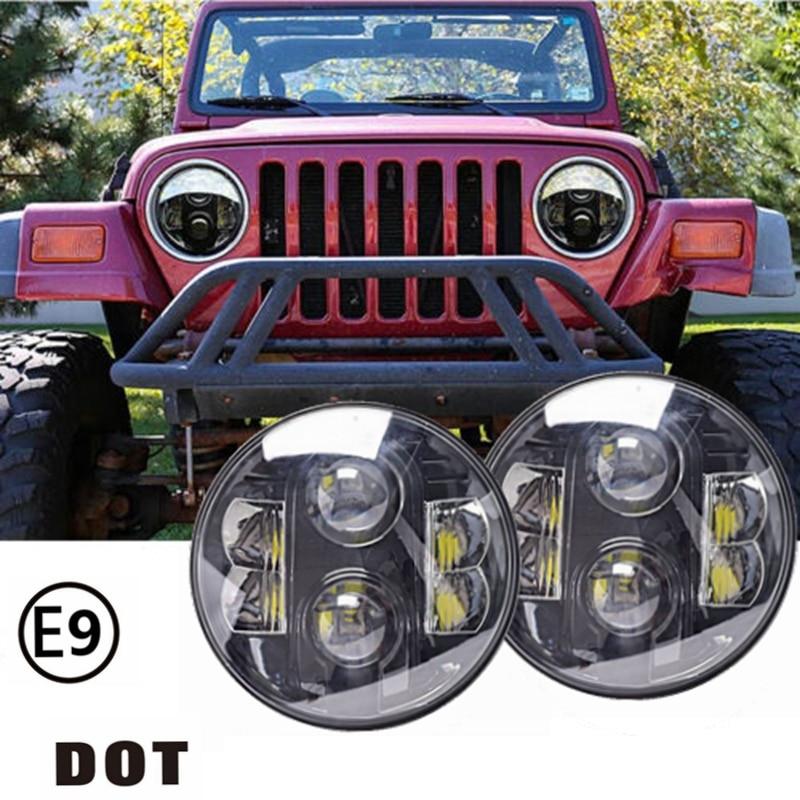 Pair 7 Round 12V 24V 80w Led Headlight For Jeep Wrangler JK/TJ/LJ/CJ Harley H4 pair for 7 inch round headlight 12v 24v dc high low beam and angel eye led for jeep wrangler jk tj harley davidson motorcycle