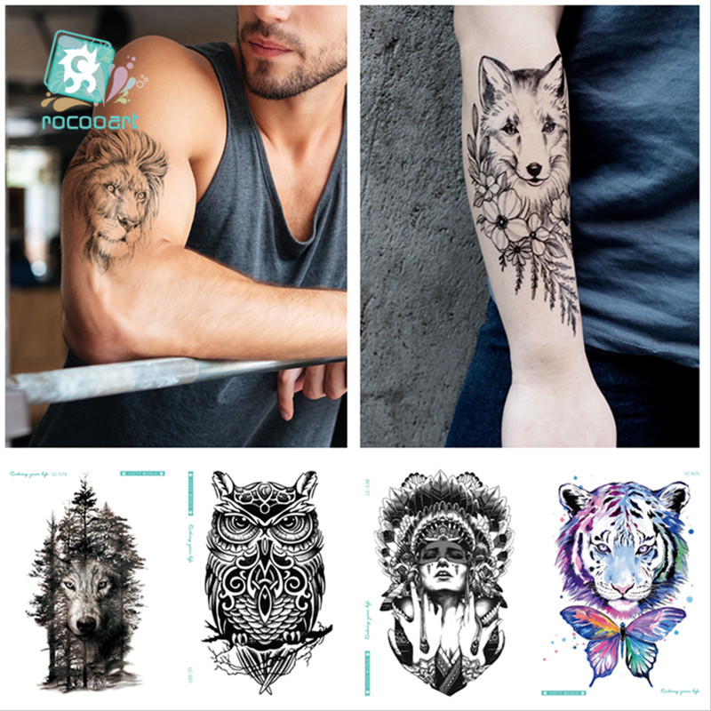 6Pcs Waterproof Temporary Tattoo Sticker Chest Clock Wolf Forest Tatto Tigers Owls Flash Tatoo Fake Tattoos For Men 21*15CM