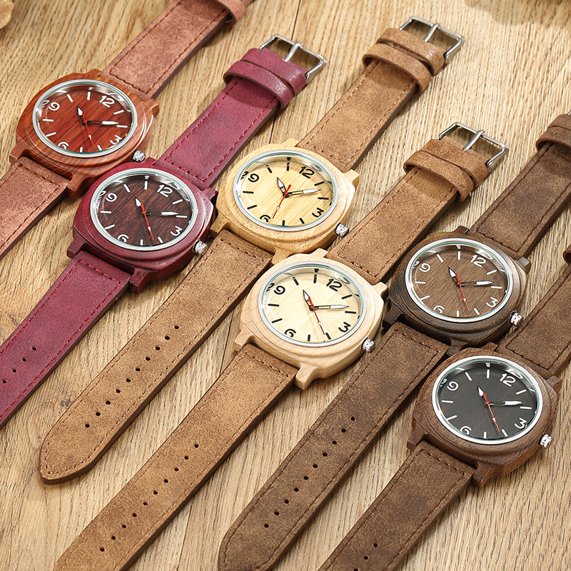 Real Tree Mens Wooden Quartz Watch Maple Walnut Rose Wood Case Wrist Watches Leather Strap Drop Ship Hot Sale Gifts Square Dial подставка для наушников merkle kx 70 maple walnut
