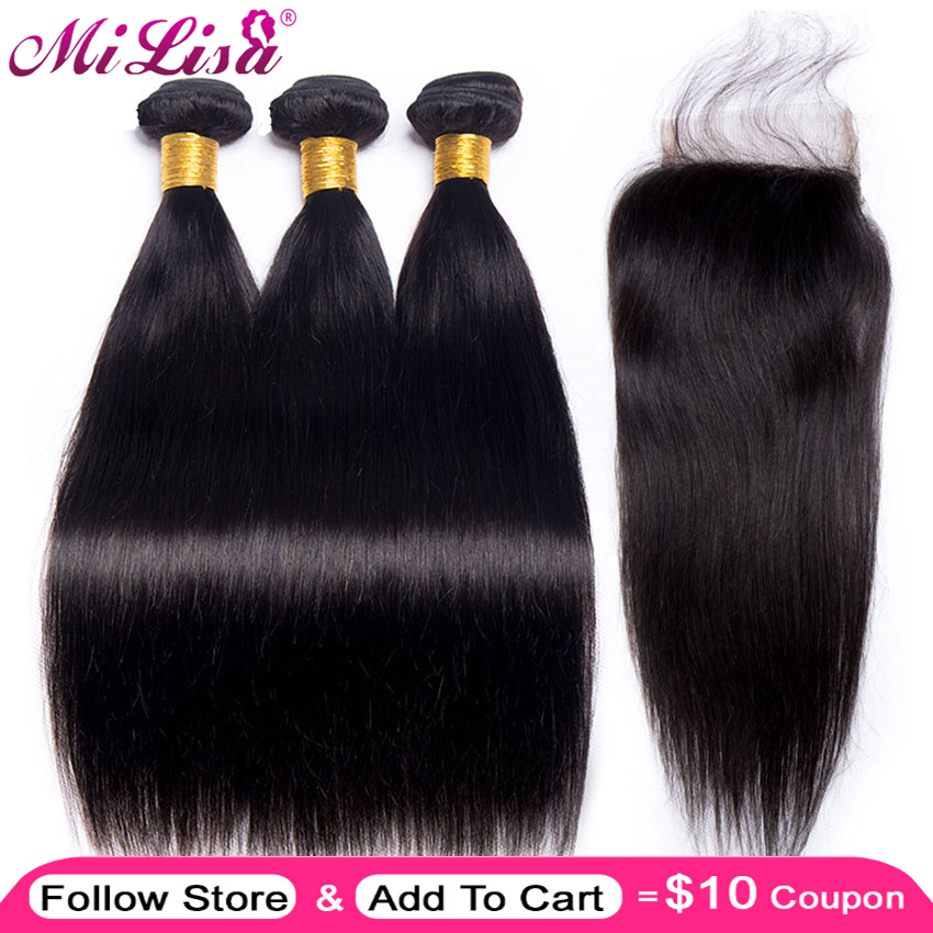 Mi Lisa Straight Hair Bundle With Closure Malaysian Hair 3 Bundle With Lace Closure 4 pc Non Remy Human Hair Bundle with Closure(China)