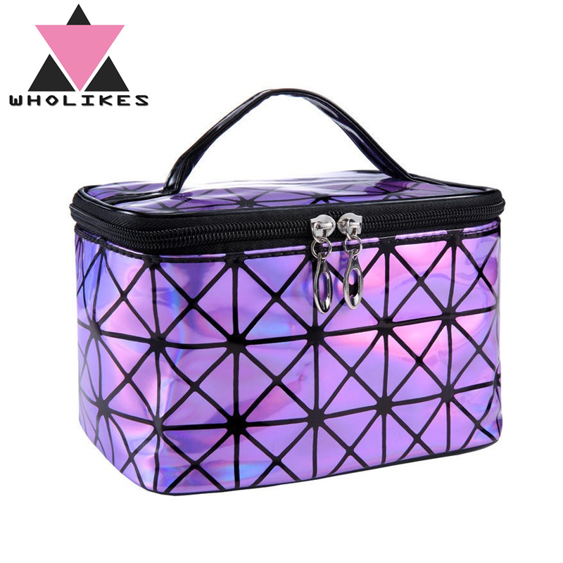 Wholikes Fashion Brand of Women s Purple PU Leather Cosmetic Bag Travel Organizer Necessarie Cosmetic Makeup Bag DLL 165