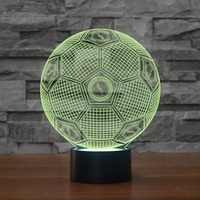 Fashion Football Modelling Night Lights 7 Colors 3D Visual Soccer Led Table Lamp Touch Button Light