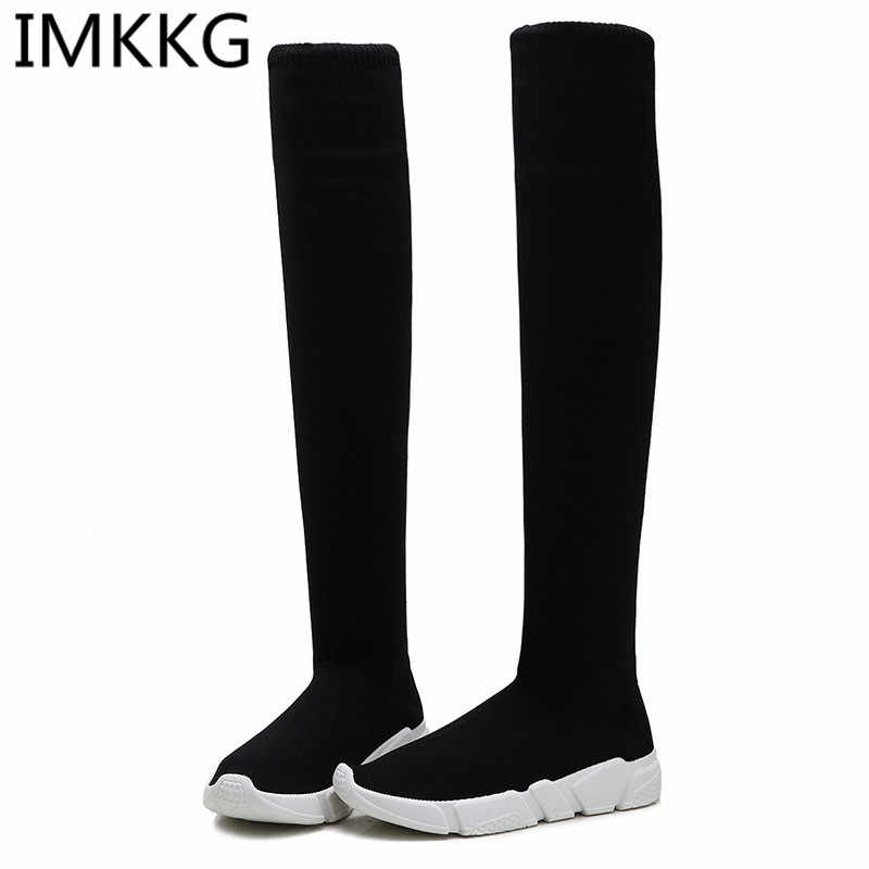 70a0d59014fd Women Sock Boots 2018 New Fashion Stretch Fabric Shoes Slip On Over the Knee  Boots Ladies