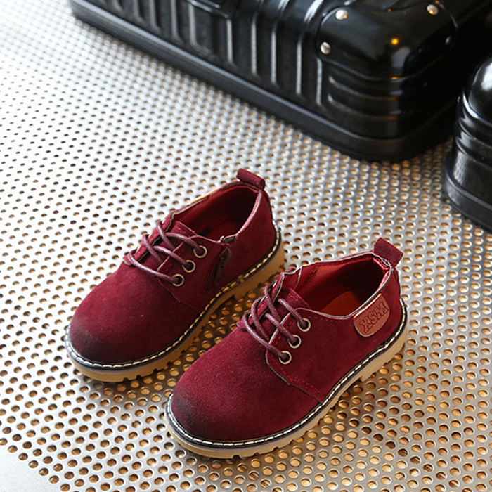 2018 Spring And Autumn New Childrens Casual Shoes Boys Leather Shoes Baby Shoes Lace-up British Retro Girls Shoes Sider Zipper