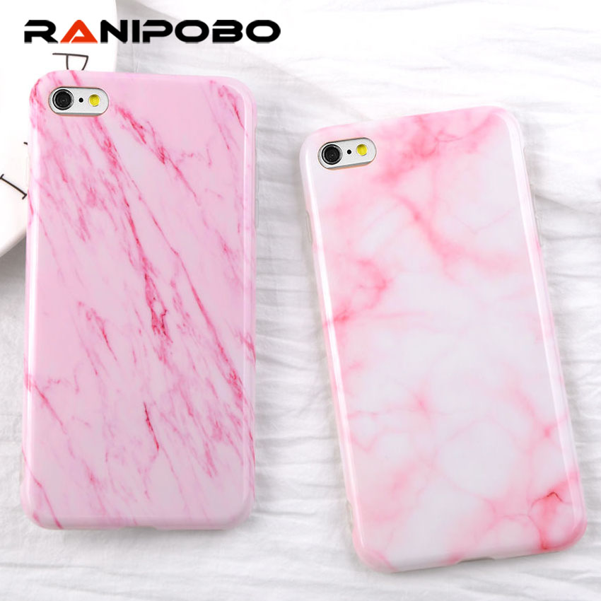 For iPhone 6 6s 6 Plus Luxury Glossy Granite Pink Marble Case Soft IMD Back Cover Capa Fundas Phone Cases For iPhone 6 7 7 Plus