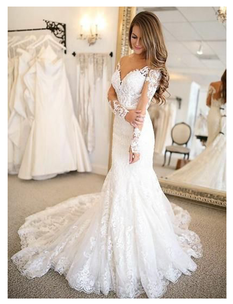 2019 mermaid Wedding Dresses Long Sleeves Lace Bride Wedding Gowns Elegant Train White Wedding Gowns Custom Made Платье