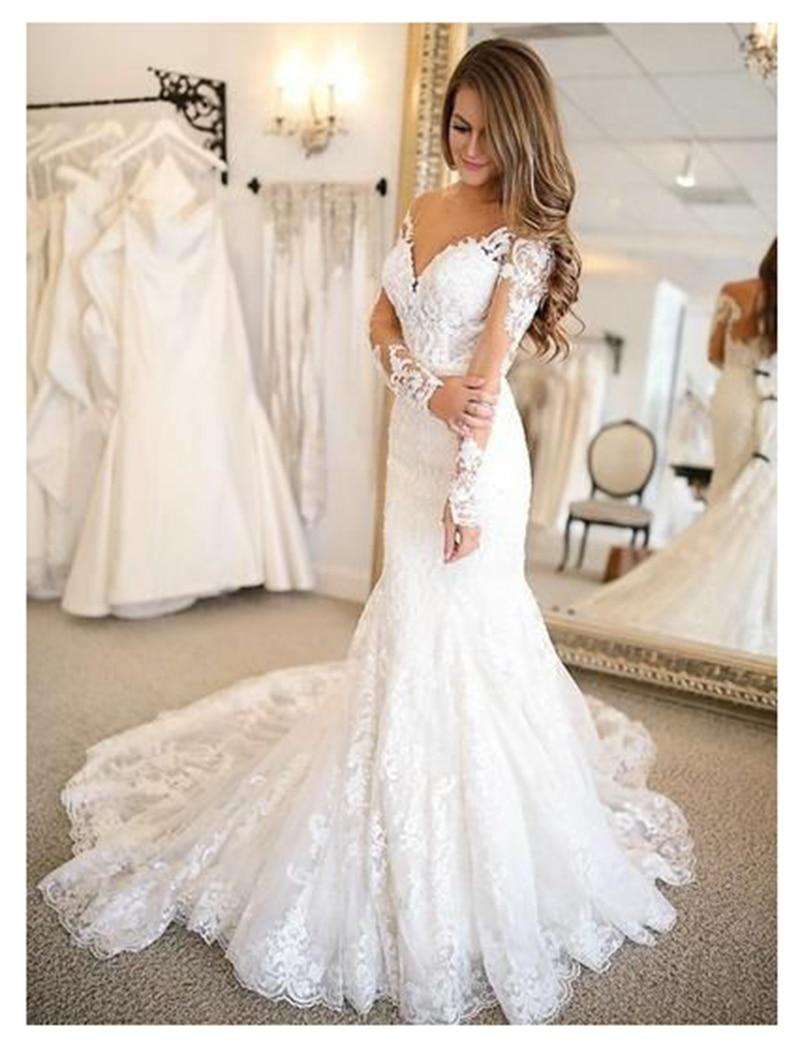 2019 Mermaid Wedding Dresses Long Sleeves Lace Bride Wedding Gowns Elegant Train White Wedding Gowns Custom Made