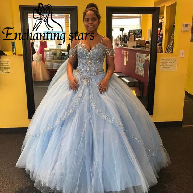 2017 Princess Summer Quinceanera Dresses Short Sleeves Spaghetti Straps Beading Crystals Girls Sweet 16 Dress Ball Gown Custom - Molibridal_ Store store