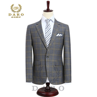 2017 DARO Mens Suit Terno Slim Fit Casual One Button Fashion Grid Blazer Side Vent Jacket