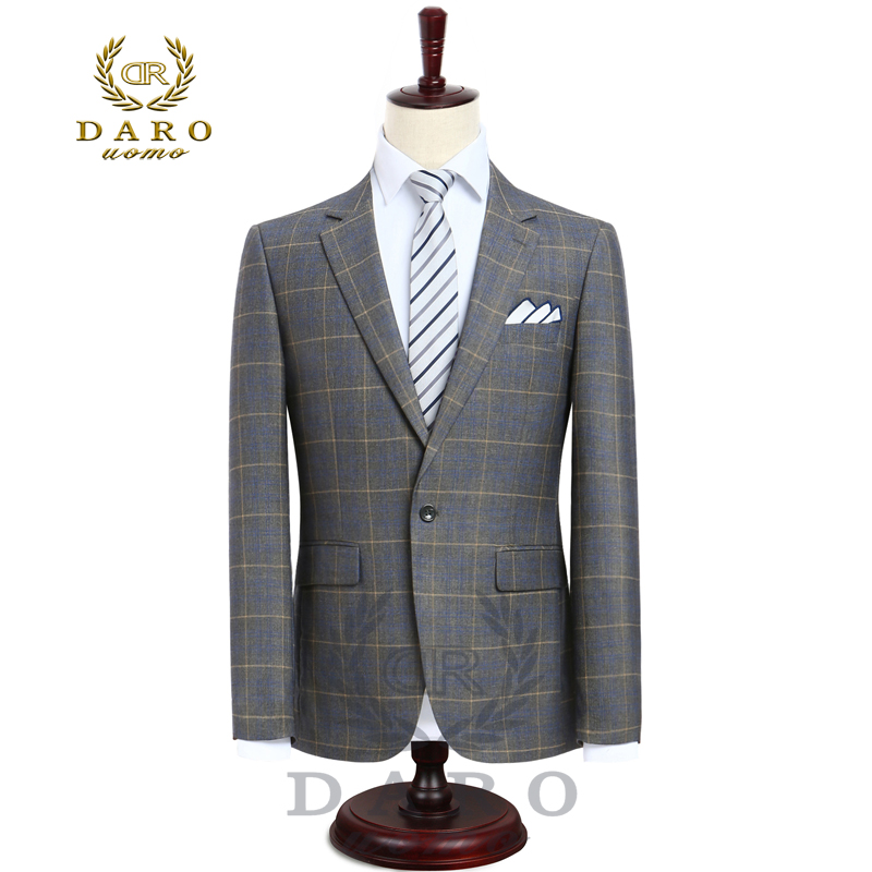 2018 DARO Mens Suit terno Slim Fit Casual one button Fashion Grid Blazer Side Vent Jacket and Pant for Wedding Party (DR8038) jones new york men s vince two button side vent suit