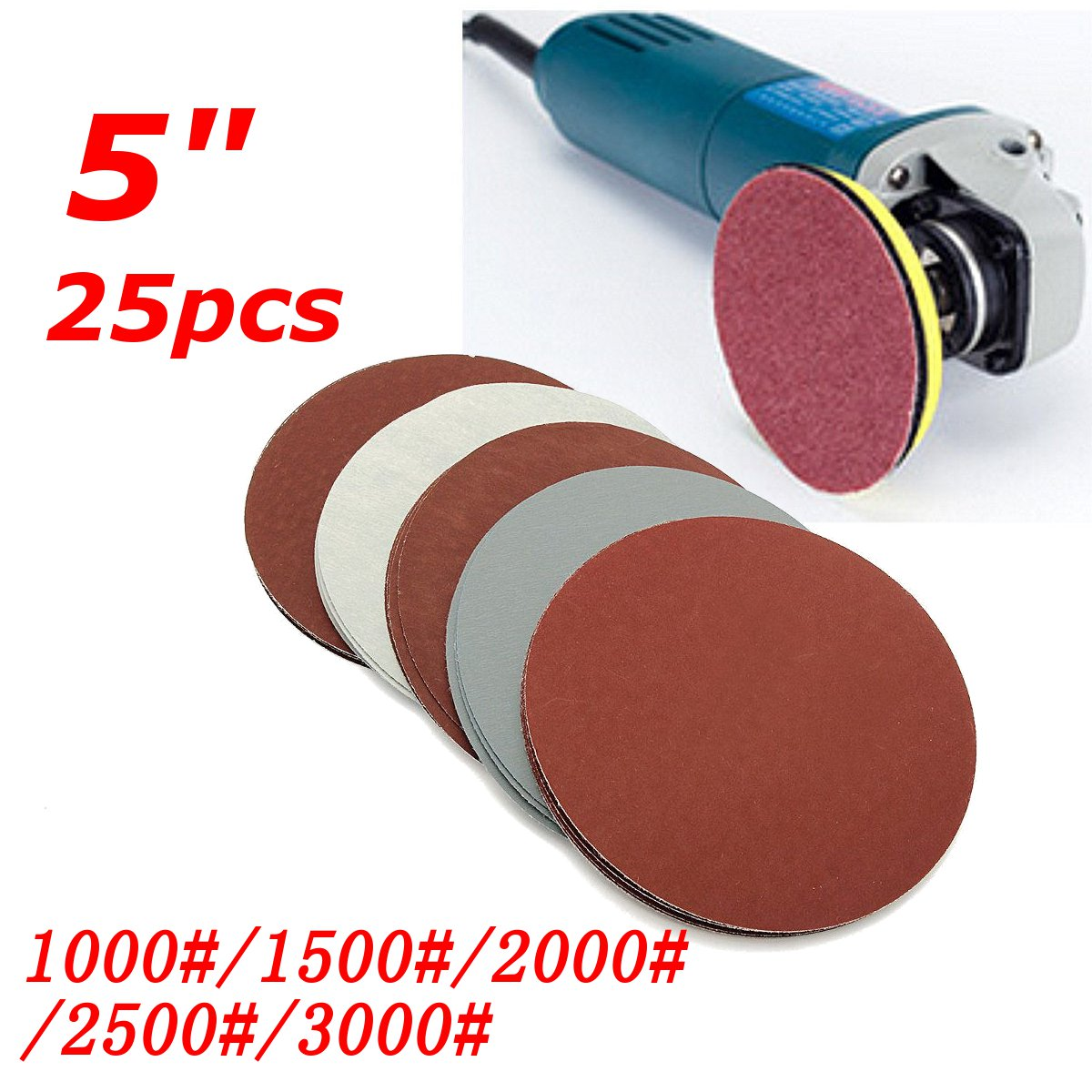 25 Pcs/set 5 Inch Round Sandpaper Abrasive Sand Sheets Grit 800/1000/1500/2000/3000 Hook&loop Sanding Disc For Sander Grits