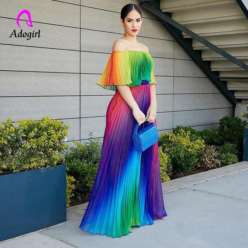 Ombro Off Rainbow Color Mulheres Elegantes Vestido de Chiffon Verão Maxi Vestido A-line Até O Chão Femme Vestido Plissado 2019 Vestidos