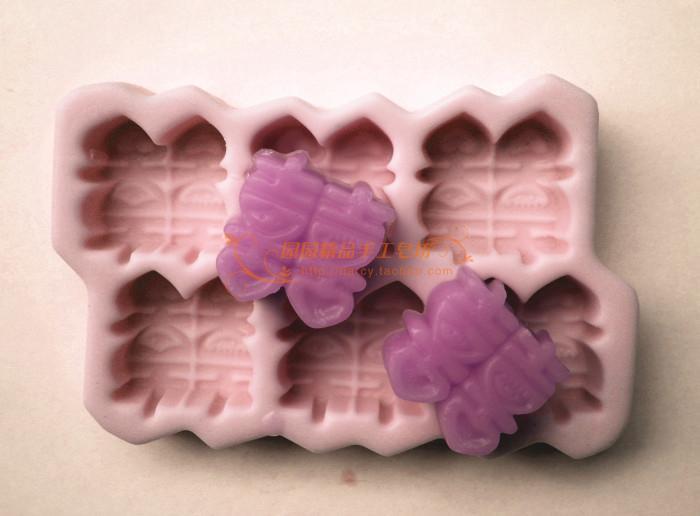 6 Cavity Double Happiness Silikonová mýdlová forma Ručně vyráběná 3D silikonová forma DIY Craft formy S123