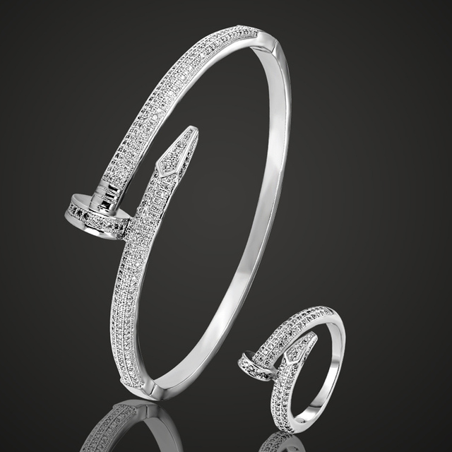 Brand Copper Cubic Zircon Bangle Rings Sets For Wedding Jewelry