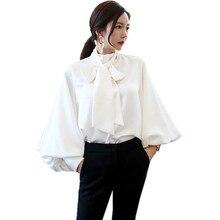 Korean fashion elegant ladies tops and blouses 2018 autumn vintage bow tie collar lantern sleeve womens shirts chemisier femme