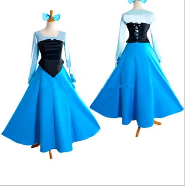 Livraison gratuite 2016 nouveau Fantasia Halloween femmes adulte princesse Ariel robe la petite sirène Ariel Costume bleu robe S-2XL