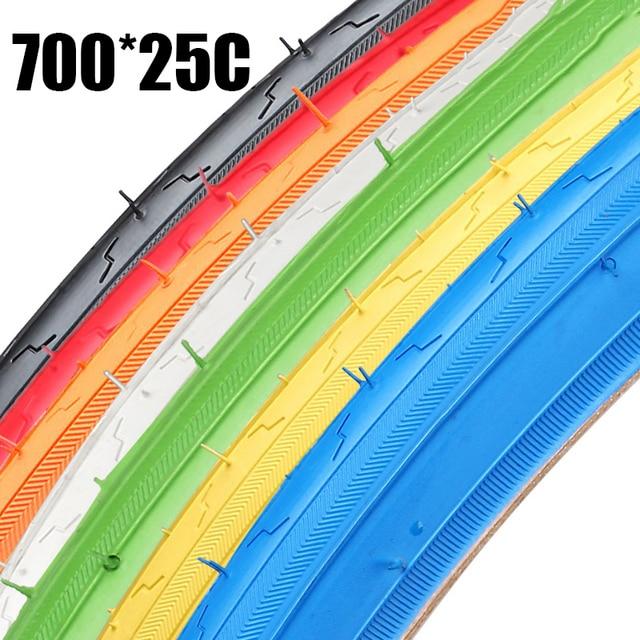 Alta calidad 700 * 25C 25-622 neumáticos de bicicleta de carretera neumáticos de bicicleta de engranaje fijo bicicletas de carretera accesorios de bicicleta de 7 colores