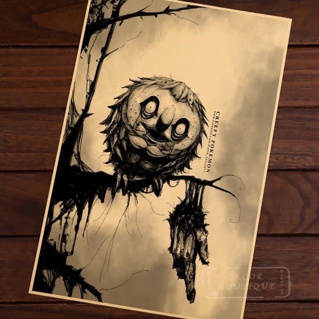 Rowlet Cool Creepy Pokeman Go Pocket Monsters Retro Vintage Canvas Frame  Poster DIY Wall Home Bar