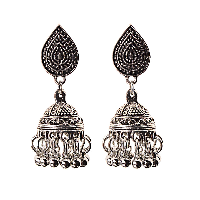 Image 4 - India Retro Birdcage Earrings Handmade Antique Silver Color 