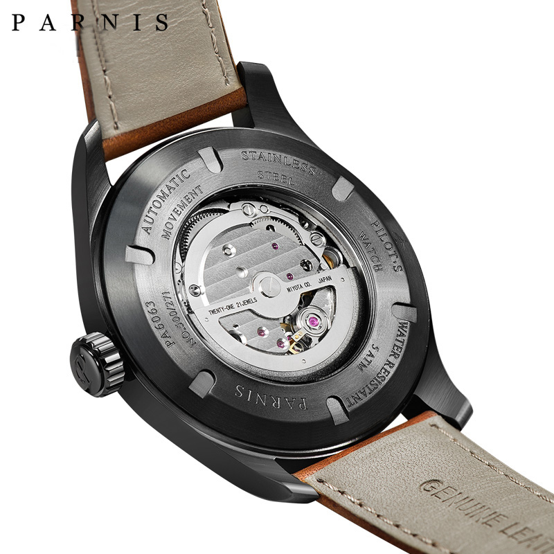 New Fashion 44mm Parnis Sport Watch Men Automatic Black Case Pvd - Męskie zegarki - Zdjęcie 6
