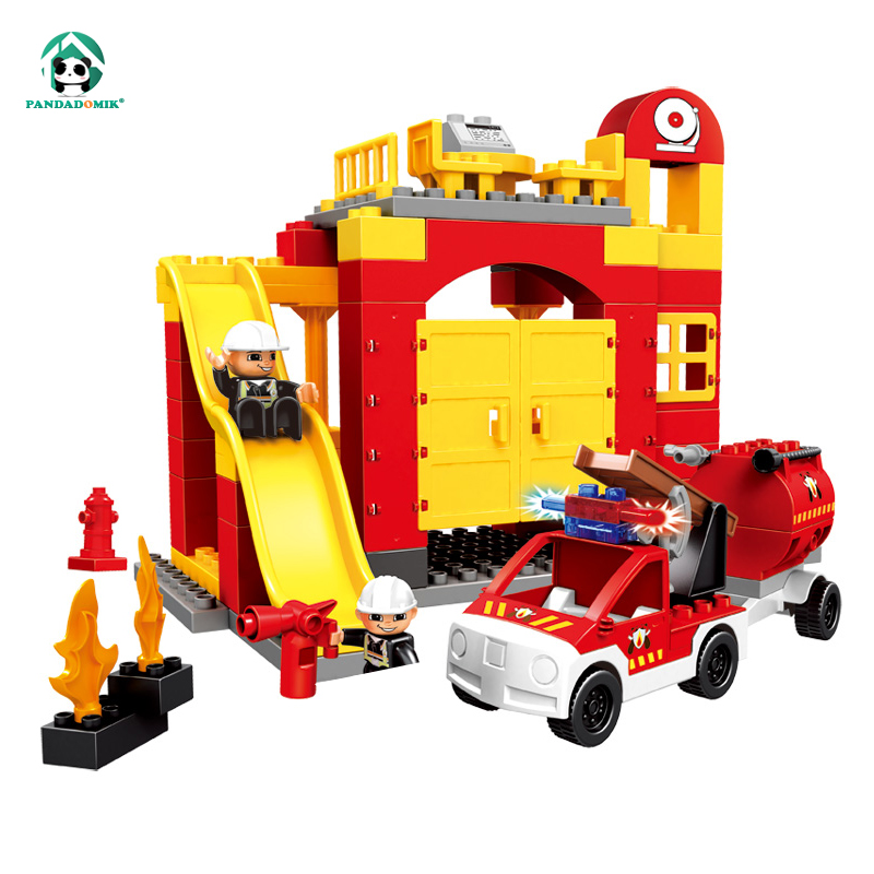 Large Size City Fire Station Building Blocks Baby Construction Educational Toys duplo Compatible Bricks Toy for Children Gift hm136 57pcs large particle building