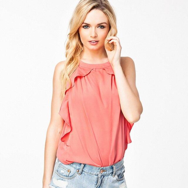 Las mujeres de moda de verano nueva calle ocasional volver volantes de encaje de cuello redondo de color sólido chaleco de la gasa floja tops