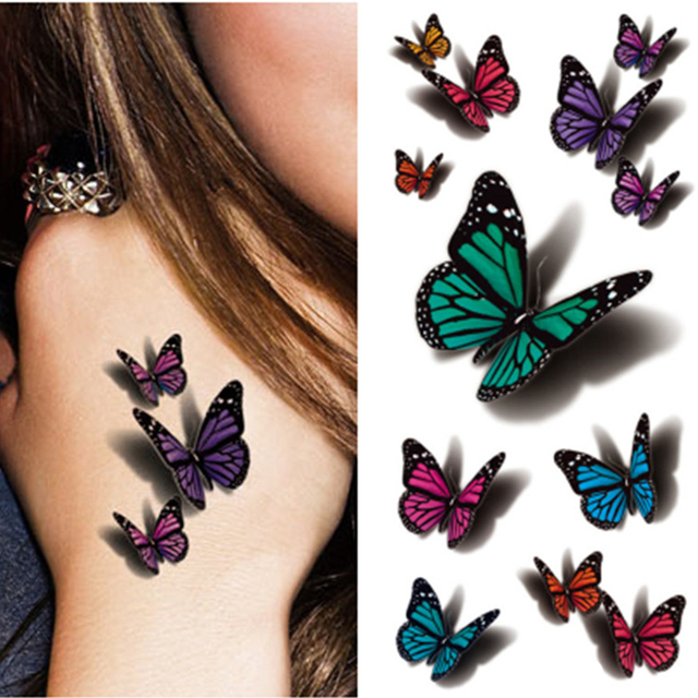 3d butterfly tattoo decals body art decal flying butterfly. Black Bedroom Furniture Sets. Home Design Ideas