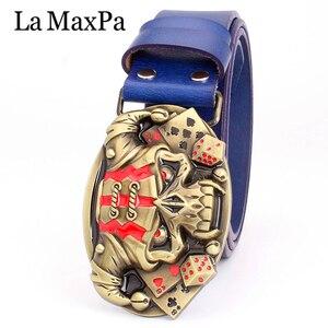 Image 5 - Cool belt for men punk belt golden skull buckle Skull clown pattern cow leather Gambler Skeleton hip hop belt mens gift