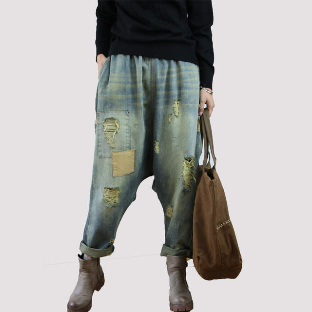 Us28 50Off Palazzo 95 Women Denim In Loose Pants Pantalones Jeans Baggy Hippie Vintage Mujer Blue Ripped cowboy Cargo For Trousers Boho He2WE9bDIY