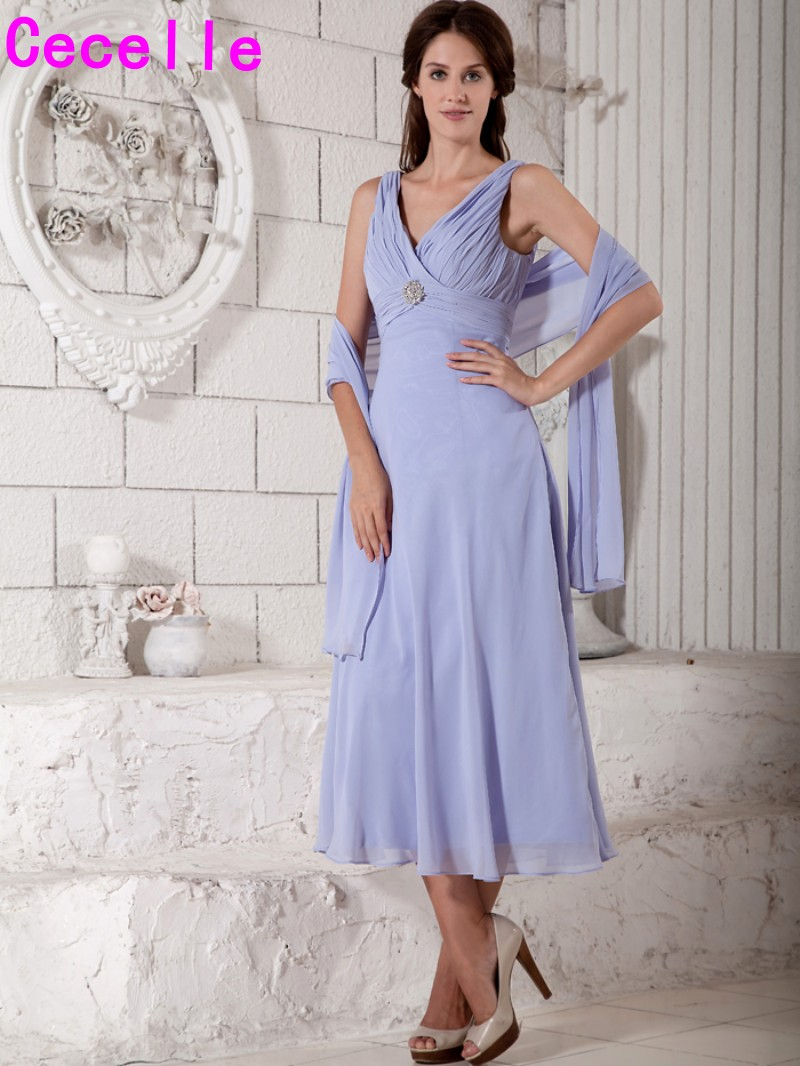 Tea Length Lavender Summer Chiffon Beach Mother Of The Bride