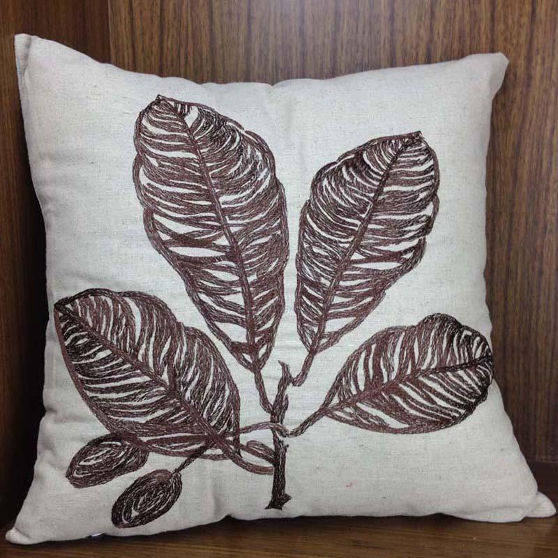 Decorative Natural Linen Embroidery Cushion Coverbanana Leaf