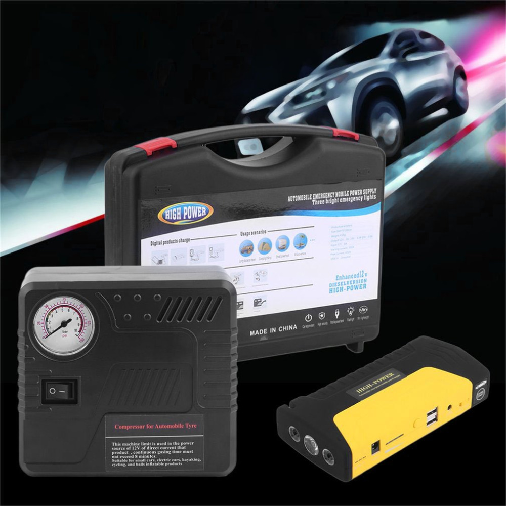 New 68800MAHUSB Portable Auto Engine Car Jump Starter Emergency Charger Booster Power Bank Battery With Air Pump Set Hot Selling 13500mah 12v multi function mobile power bank tablets notebook phone ca r auto eps starter emergency start power
