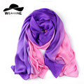 180*90cm New 2017 Spring women Rayon Silk muffler women Gradient Silk scarf scarves shawl dual long scarves Solid carves