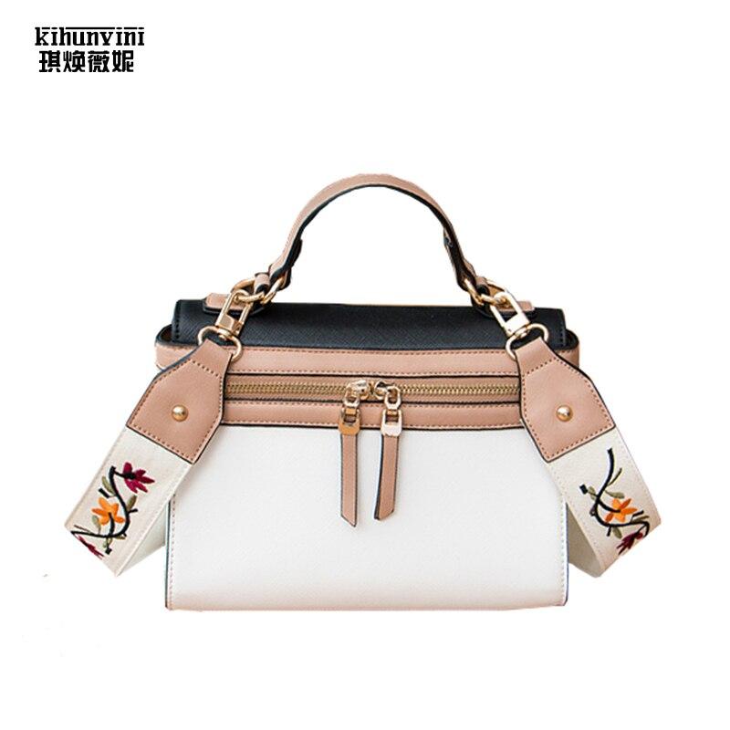 Кожаная сумка вышитые ремень кожаная сумка через плечо Сумки на плечо женский кошелек высокого качества Дизайнерские Новое поступление KPOP ... ...
