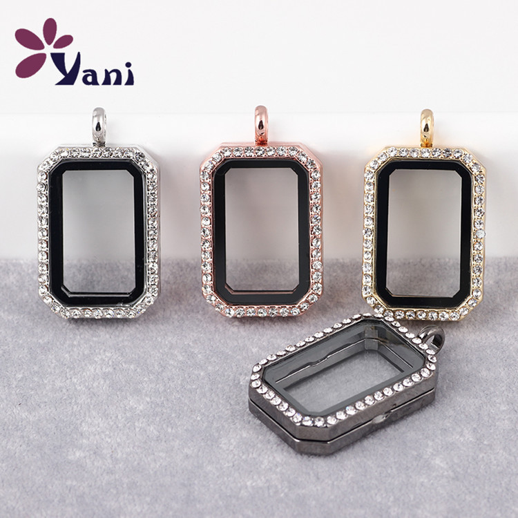 cff694a0b25 10pcs Lot Free Shipping Geometry Rectangle Floating Locket Necklace    Pendant Magnetic Glass Living Memory Locket